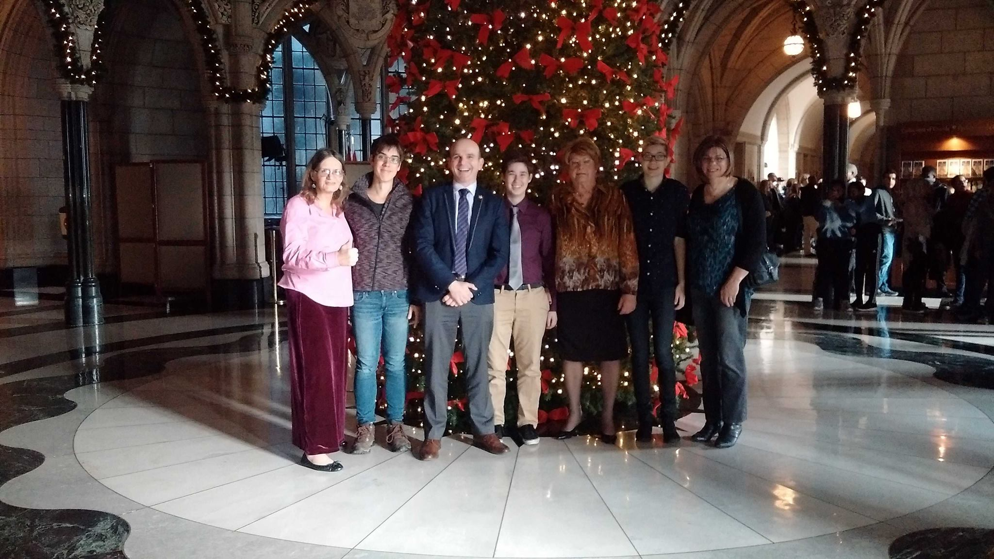 Left to right: Susan Gapka, me, the Special Advisor to the Prime Minister on LGBTQ2 Issues MP Randy Boissonault, Kaden, unknown, Kye, Amanda Ryan.
